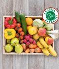 Obsthaus Bio-Mix-Kiste auf Holzboden mit allerlei Gemüse und Früchten in Bioqualität