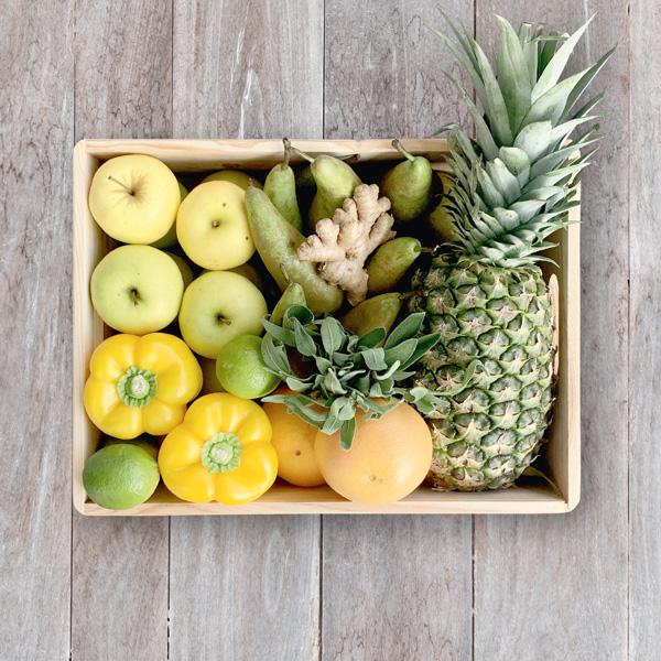 Obsthaus Saft-Kiste Gelb
